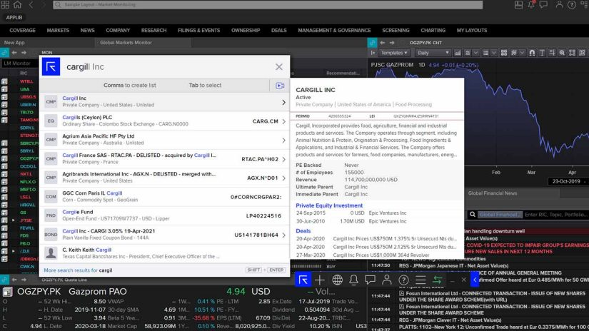 Screenshot of the search functionality in Workspace of Investment Bankers