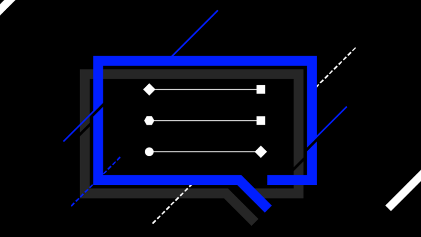Blue conversation chat-box with diagonal graphic lines on a black backdrop