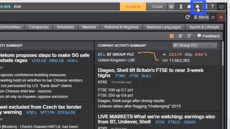 Screenshot from the Eikon Digest video showing how to turn on Alerts.