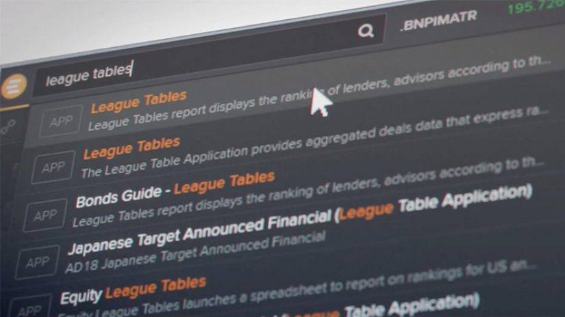 A still shot from the Eikon Investment Banking video, showing one of the Eikon screens.