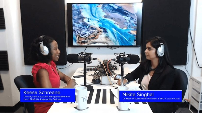 Keesa Schreane and Nikita Singhal converse in a recording studio. A TV on the wall displays a riverbed