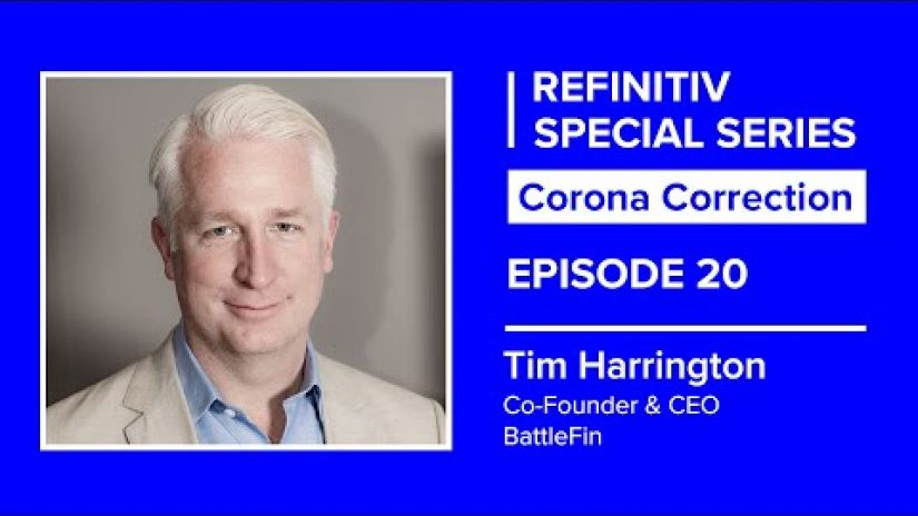 portrait shot of tim harrington on a blue background. The words refinitiv special series corona correction episode 20 sit to his left