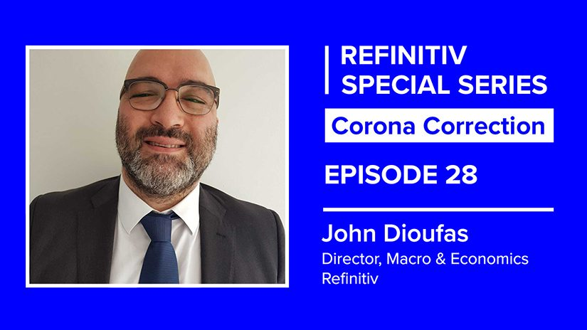 John Dioufas sits in a square window. The words refinitiv special series corona correction episode 28 sit on the right