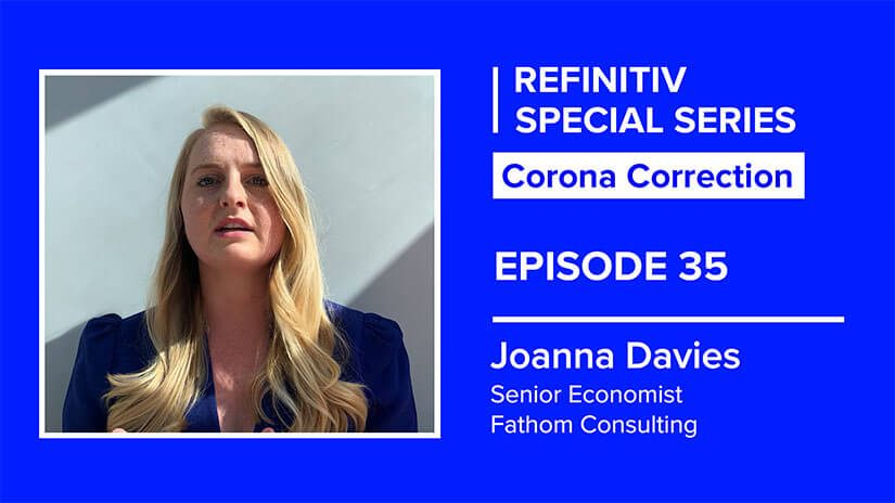 Joanna Davies headshot on a blue background. To her left it reads corona correction episode 35