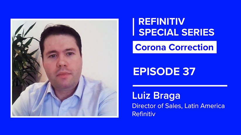 Luiz Braga headshot on a blue background. The text on the right reads Corona Correction episode 37