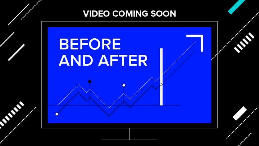 The before and after logo is displayed on a black background. Video coming soon is typed across the top