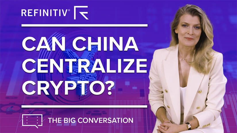 Louisa Bojesen sits on a blue background. To her left it reads can china centralize crypto