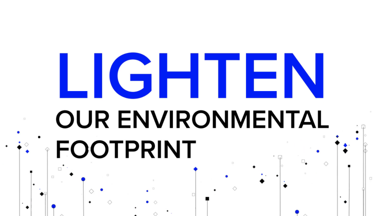 White background with the the following block text: Lighten our environmental footprint