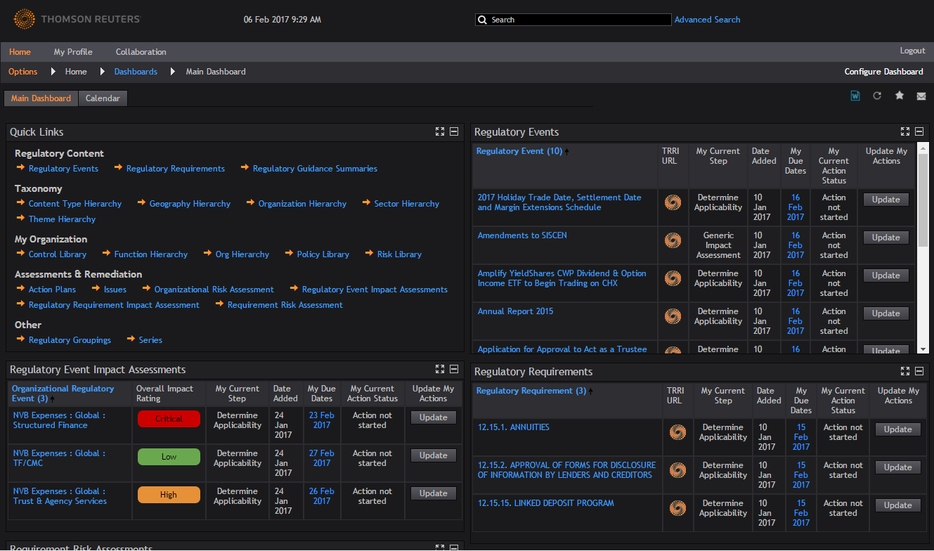 Example of the Main Dashboard in Thomson Reuters Regulatory Change Management