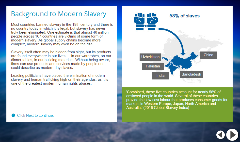 Screenshot from 'Modern Slavery' course, developed in collaboration with ETI (Ethical Trade Initiative)