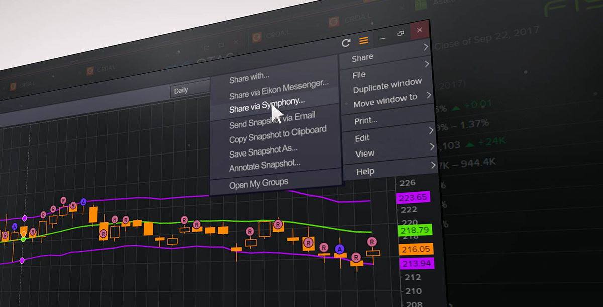 "The sender selects ""Share via Symphony"" from the right-click menu in Eikon."