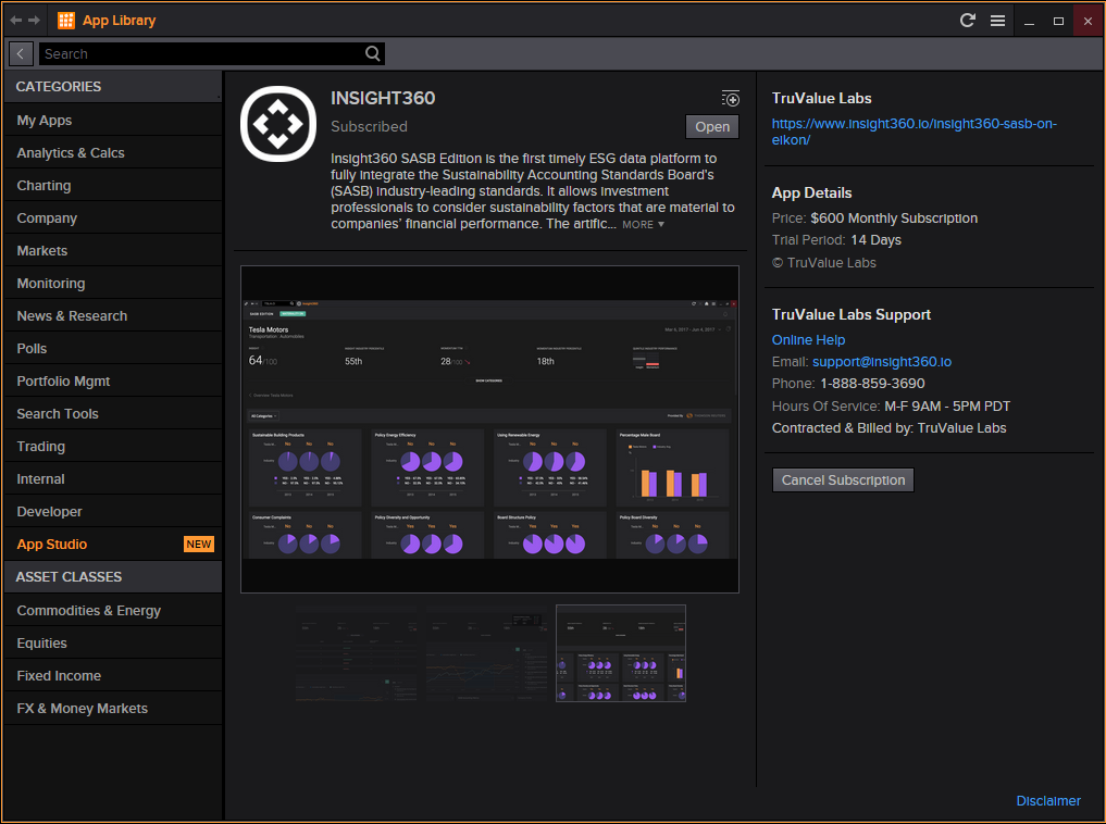 Insight360 SASB Edition in Eikon App Library