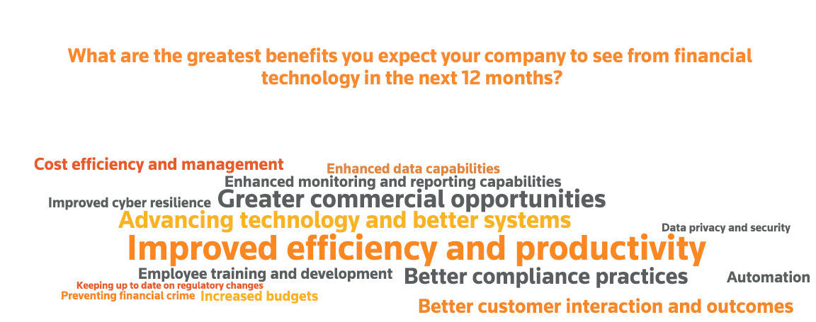 What are the greatest benefits you expect your company to see from financial technology in the next 12 months? A finding from the Fintech, Regtech and the Role of Compliance in 2017 survey by Thomson Reuters