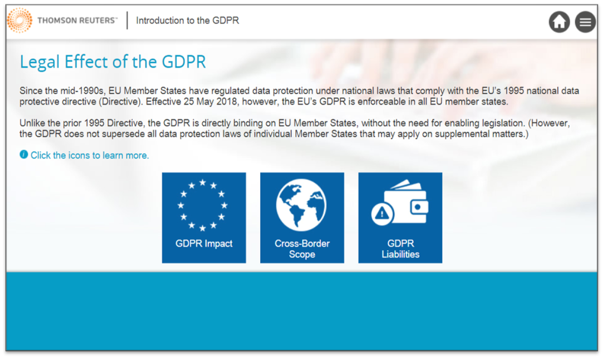 A view of the Thomson Reuters GDPR online training course
