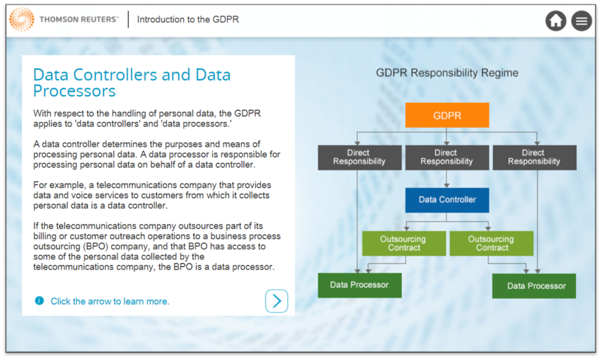 A further view of the Thomson Reuters GDPR online training course