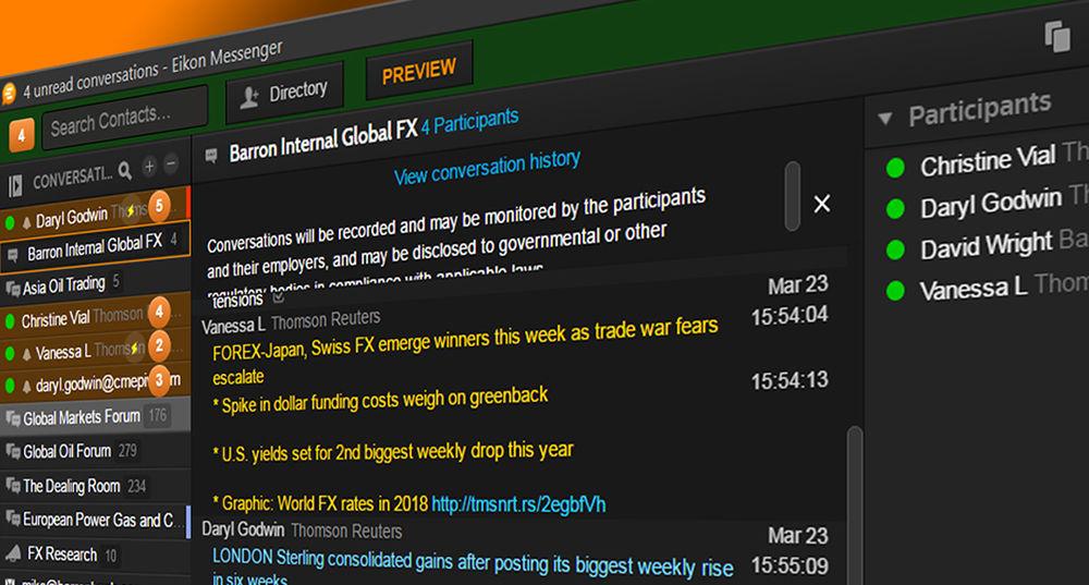 Bilateral Chat on Thomson Reuters Eikon Messenger
