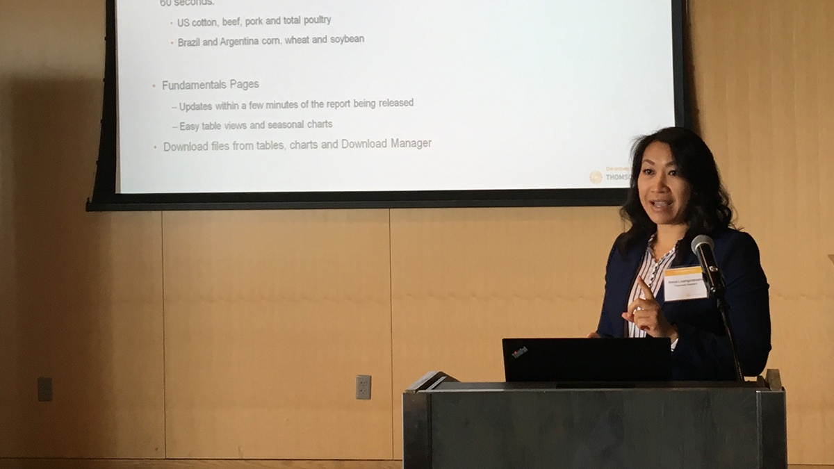 Anna Luangxaysana reviews U.S. corn and soy yield and production. Ag forum tackles U.S. crop outlook