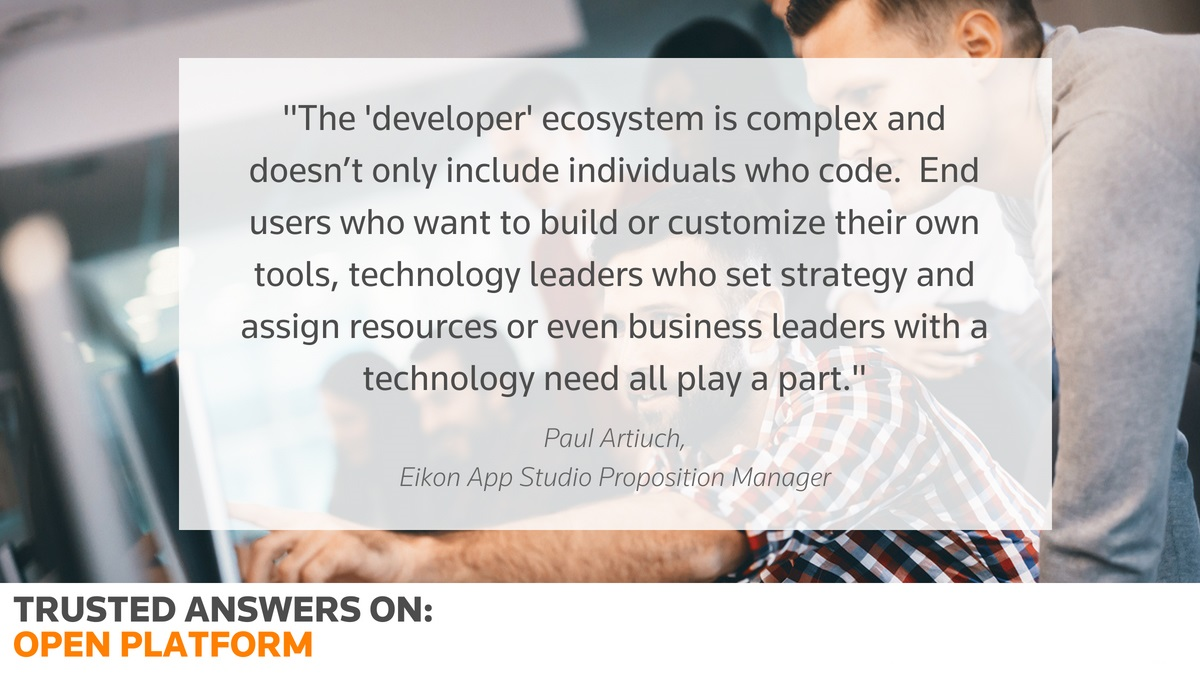 Financial platforms: Building a developer community. Paul Artiuch quote