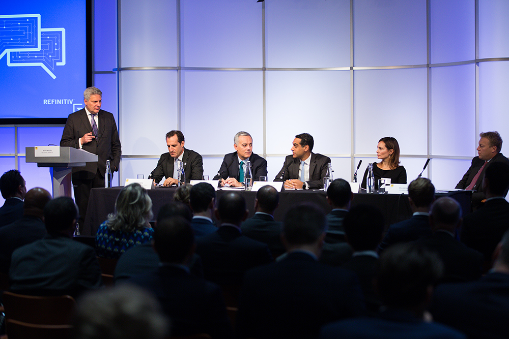 Modrator Keith Mullin and guest speakers (L-R): Craig Coben, Luis Vaz Pinto, Suneel Hargunani, Silvia Viviano, William Smiley. Bankers still positive on European IPOs