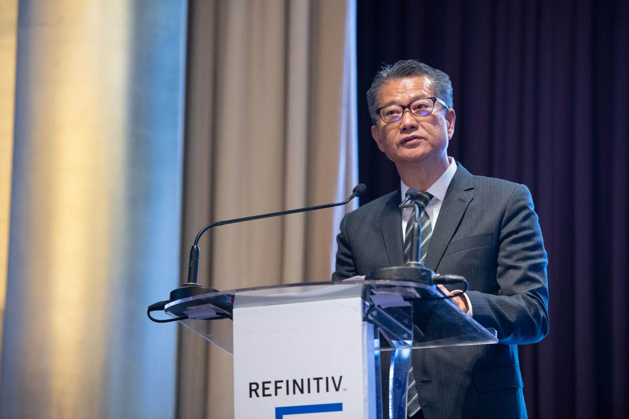 Paul Chan Mo-po, GBM, GBS, MH, JP, Financial Secretary, HKSAR, giving an opening keynote at the 2018 Refinitiv Pan Asian Regulatory Summit
