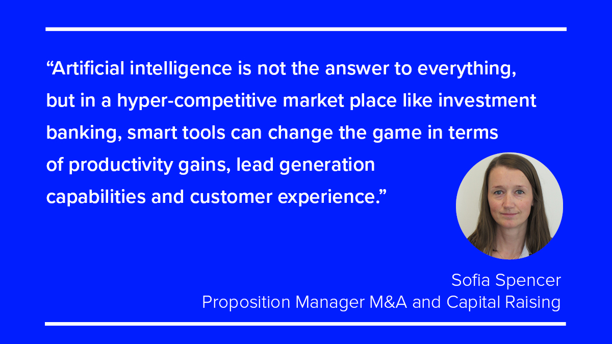 Sofia Spencer Quote. AI set to transform investment banking