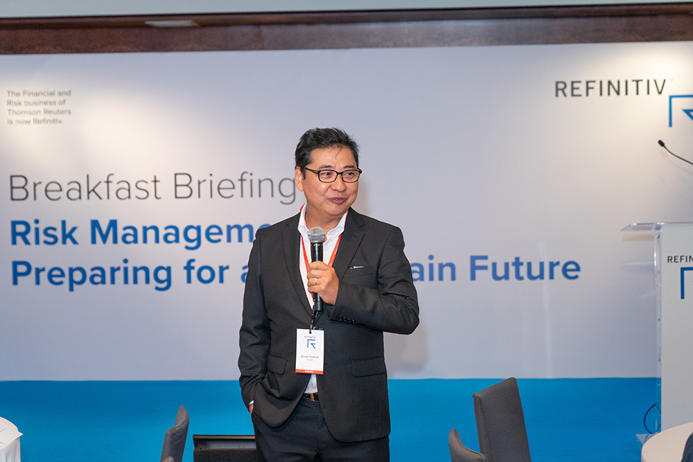 Marcelo Hiratsuka, Head of Market Development for Risk at Refinitiv Japan, at the Refinitiv Breakfast Briefing in Hong Kong. Risk management and the 3 lines of defense