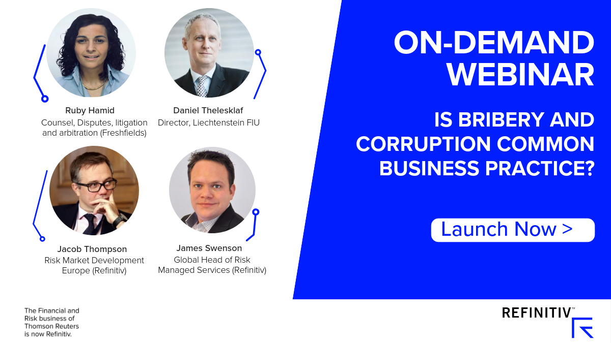 On-demand webinar: Is Bribery and corruption common business practice? Fighting bribery and corruption: The experts' view