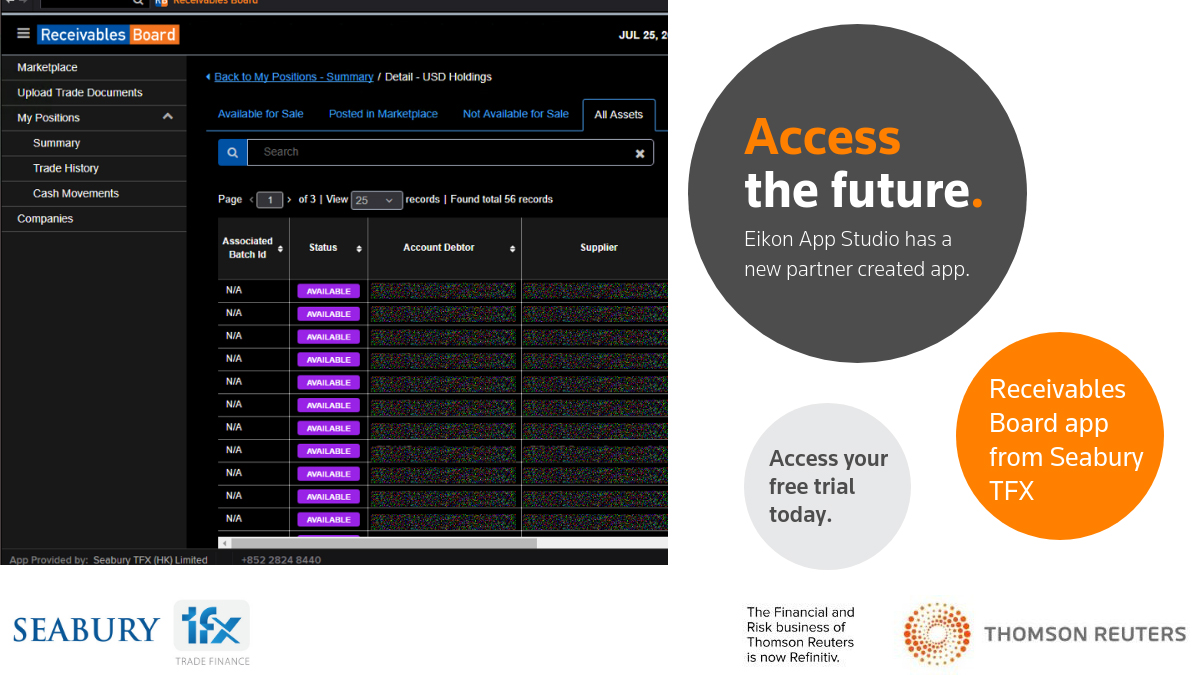 Receivables Board from Seabury. Eikon App Studio: 3 apps to try for free