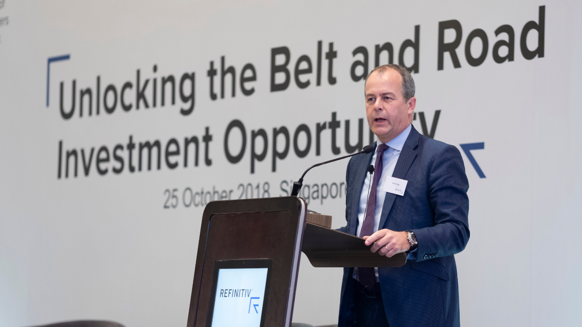 David Craig, Refinitiv CEO, giving the welcome address. China's Belt and Road: 9 overlooked facts
