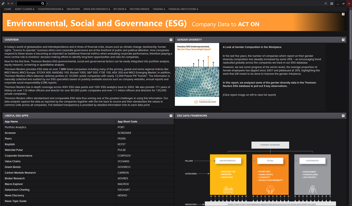 The ESG app in Eikon. The rise of sustainable investing in Asia