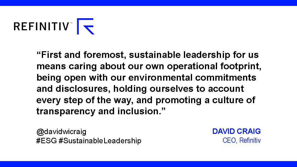 A new benchmark on sustainable leadership. David Craig quote
