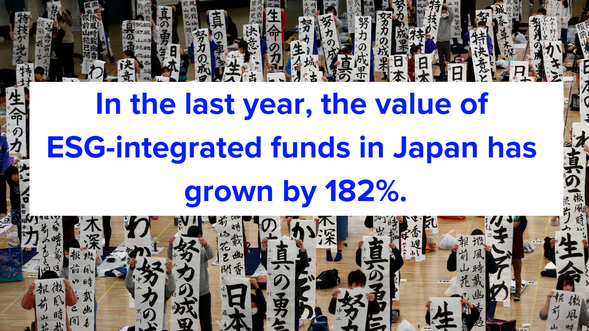 The value of ESG-integrated funds in Japan has grown by 182 percent. Davos 2019: investing in sustainability