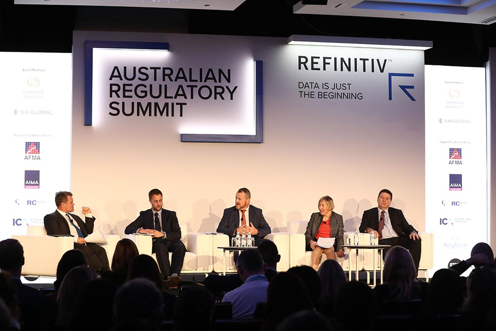 Speakers at the 2019 Refinitiv Australian Regulatory Summit: (l-r.) Nathan Lynch, Thomson Reuters; Dr Nicholas Gilmour, Charles Sturt University; Warren Lysaght, NSW Police Force; Paula Chadderton, University of Canberra; Nicholas McTaggart, The Murinbin Group