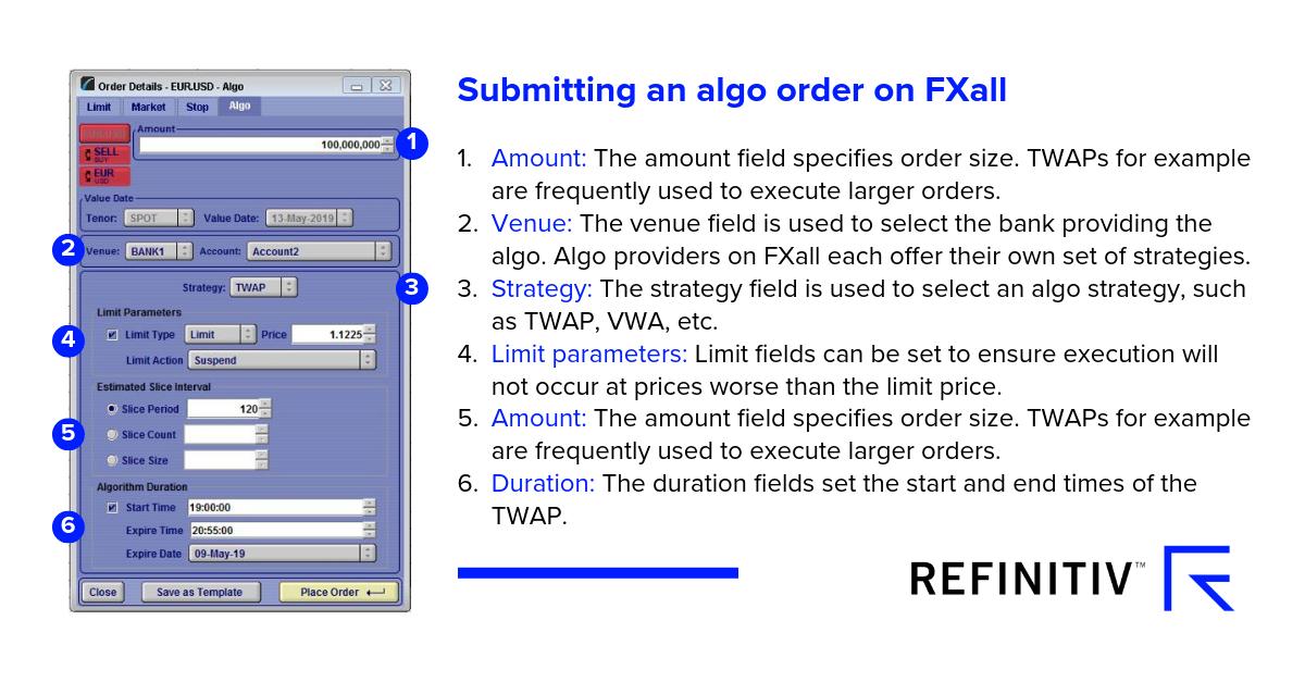 Submitting and algo order on FXall.