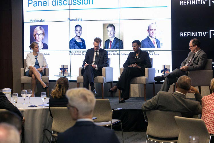 Julia Walker moderates a discussion on Digital Financing of the Sustainable Development Goals, featuring guests Sola David-Borha, Chief Executive of Africa Regions at the Standard Bank Group; Frank Elderson, Executive Director at De Nederlandsche Bank; and Simon Zadek, UN SG Task Force