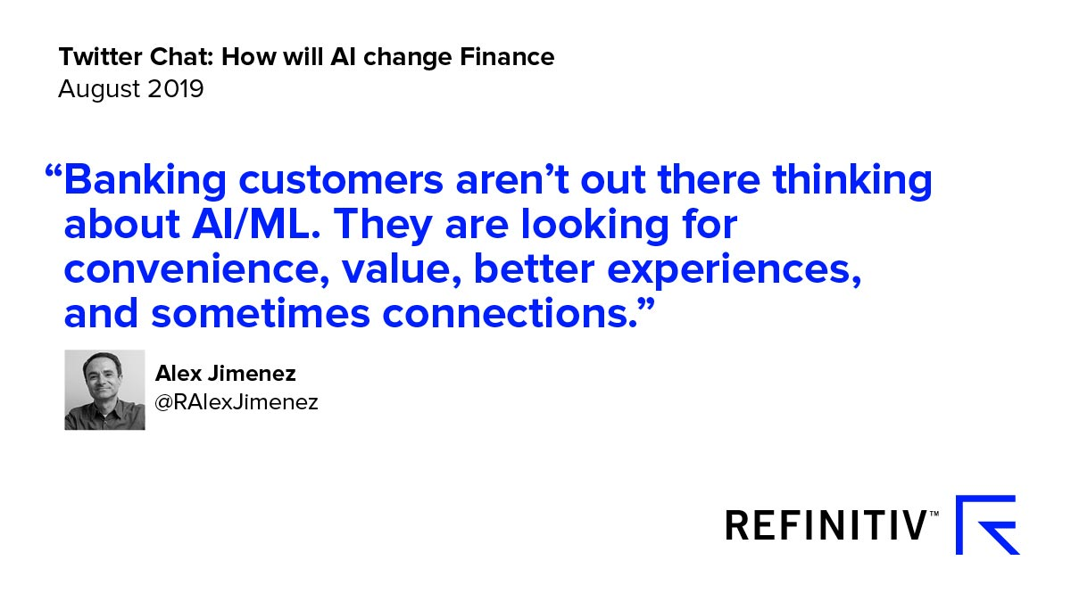 Alex Jimenez Quote. Using AI in financial services — the Twitter view