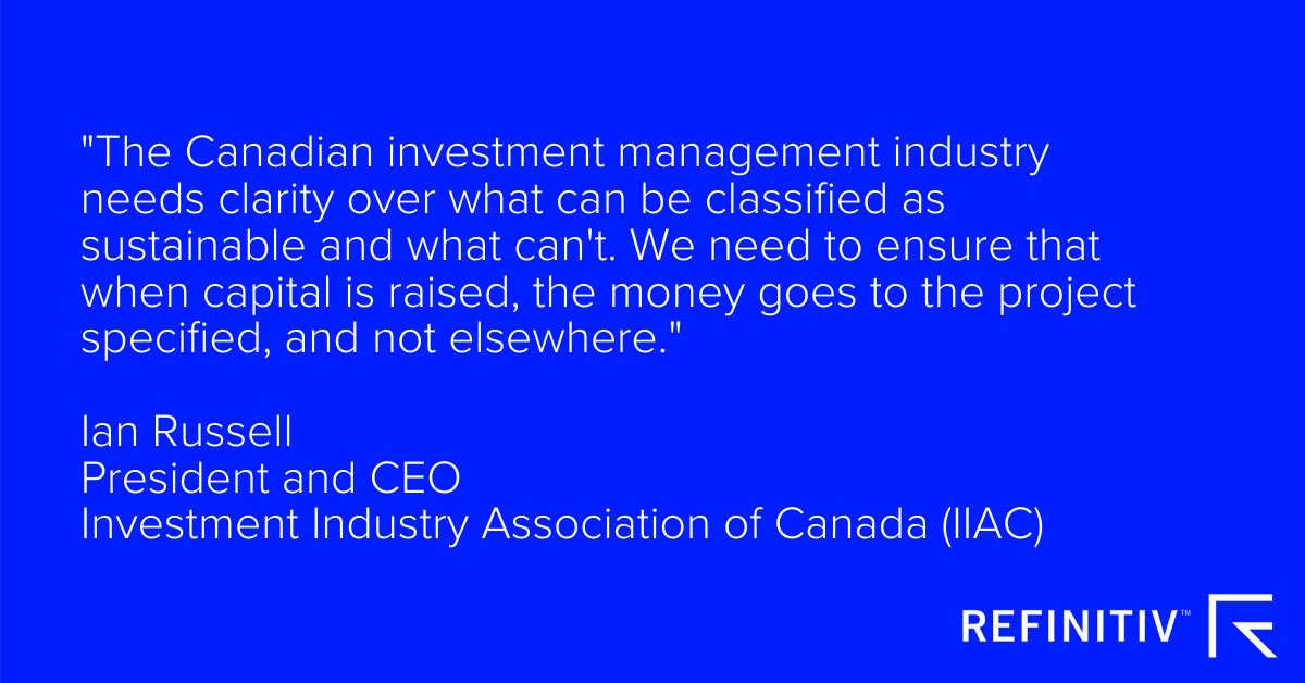 Ian Russell quote about sustainable investment in Canada. Redefining ESG: A green taxonomy for Canada?