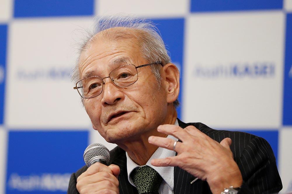Asahi Kasei honorary fellow Akira Yoshino, 2019 Nobel Prize in Chemistry winner, speaks during a news conference in Tokyo, Japan October 9, 2019. Celebrating prize-winning innovation in Japan