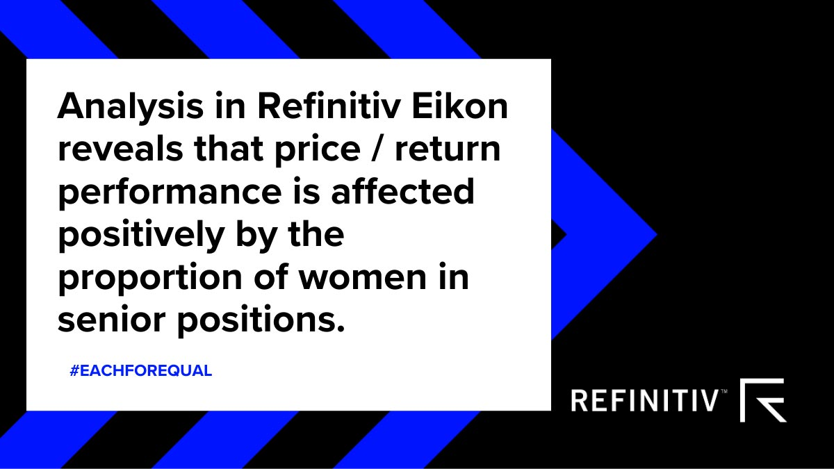 Analysis in Refinitiv Eikon reveals that price/return performance is affected positively by the proportion of women in senior positions. #WomenLeaders: A focus on gender diversity