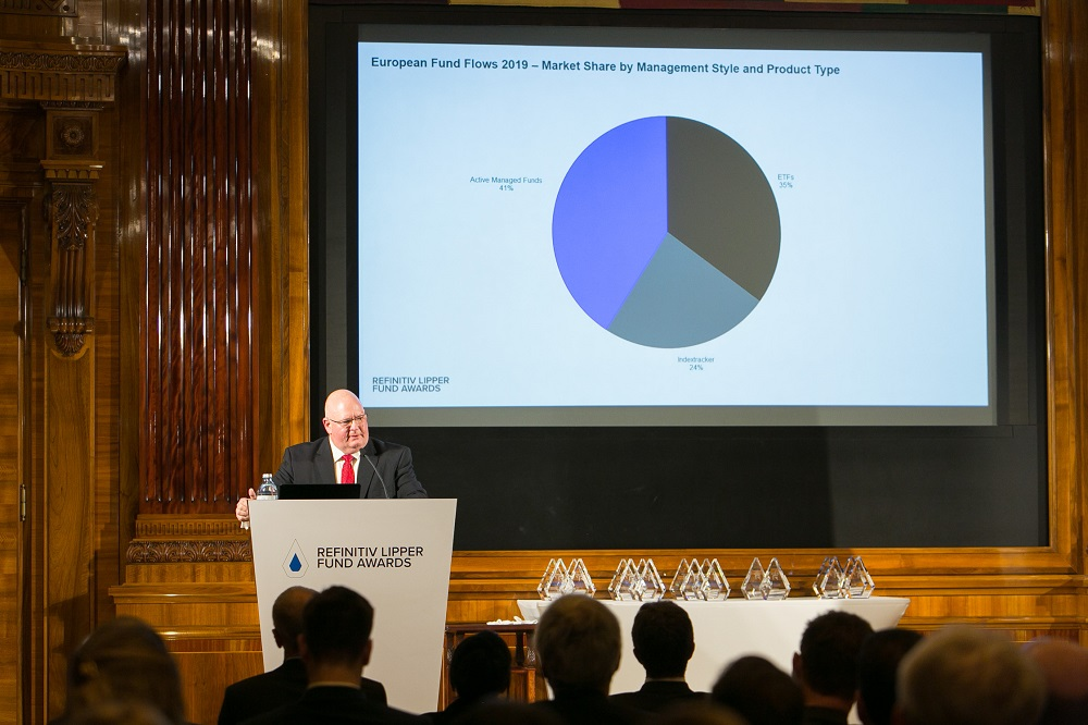 Detlef Glow, Head of Lipper EMEA Research, presents the 2019 European Fund Flow review to the award ceremony attendees at the Park Hyatt, Vienna.