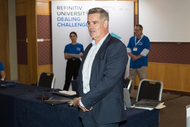 Daryl Sisson, Managing Director, Australia and New Zealand at Refinitiv speaking to students at the Refinitiv University Dealing Challenge