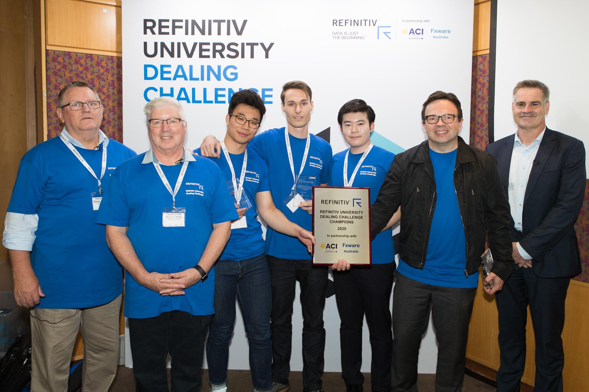 Photo of the winning team, the University of Sydney, at the Refinitiv University Dealing Challenge