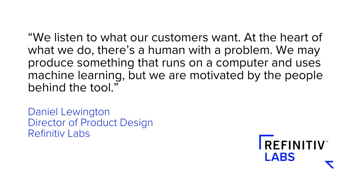 Daniel Lewington quote. Design thinking and solving data problems