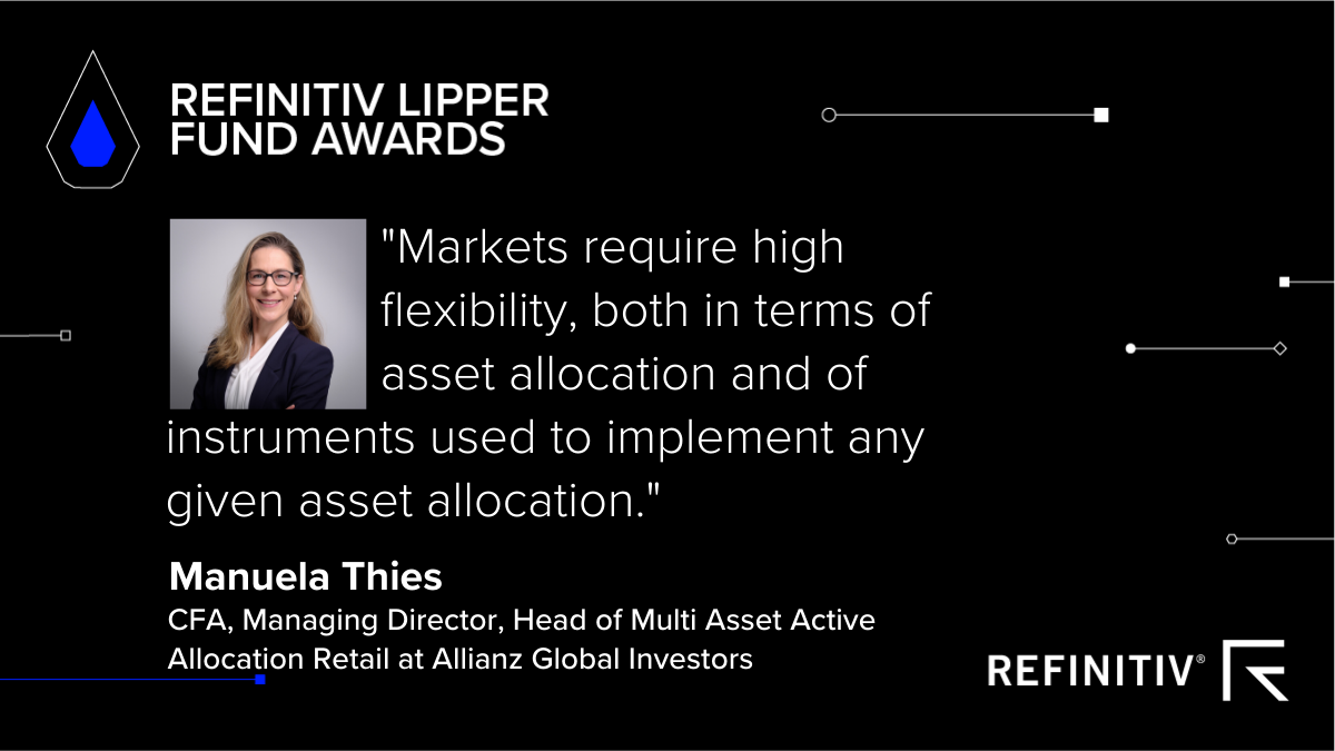 Refinitiv Lipper Fund Awards photo and quote image of Manuela Thies, CFA, Managing Director, Head of Multi Asset Active Allocation Retail at Allianz Global Investors